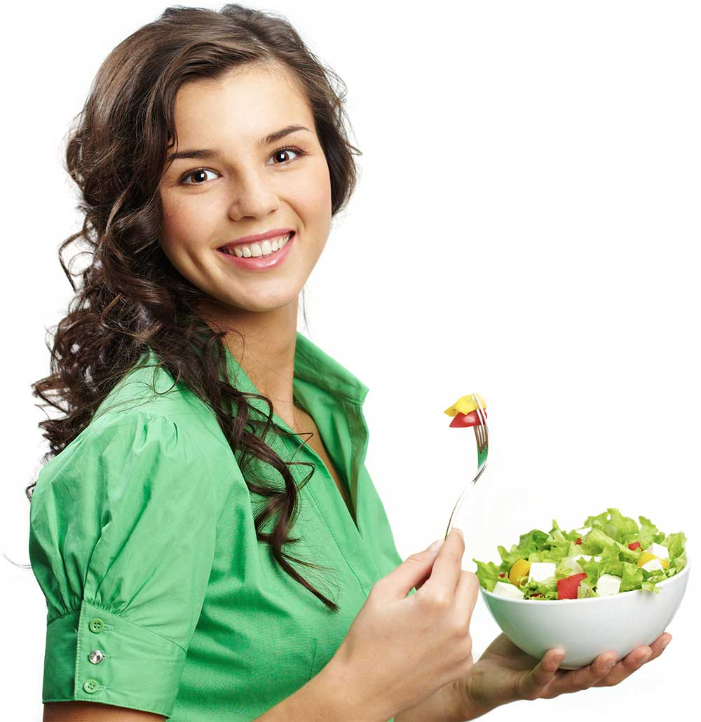 Woman eating salad from Orlando and Central Florida micro-market